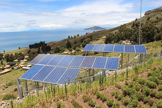 solar panels near the ocean