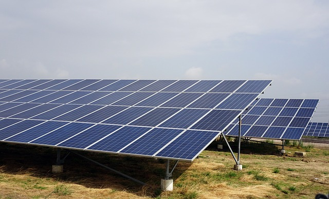 solar panels at solar energy farm